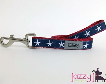 Navy Blue and White Starfish Summer Dog Leash Lead