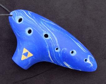 Legend of Zelda Style Ocarina - Tri-Force Logo - Marble Flute