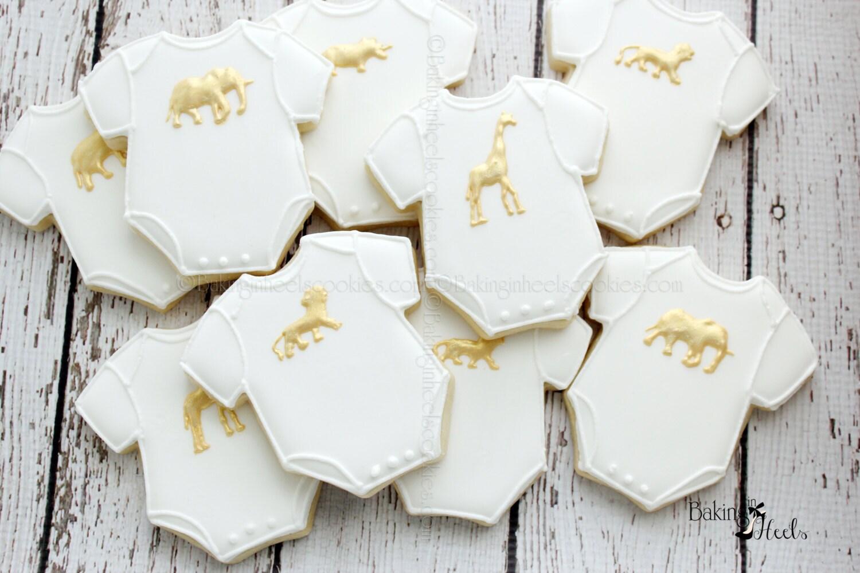 Gold Animal Onesie Baby Shower Cookies Golden Safari Baby