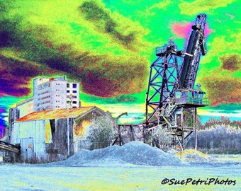 Industrial Chic Photography, Port Colborne, Robin Hood Mill, Stone Dock, Surreal, Digitally Enhanced, Colorful,