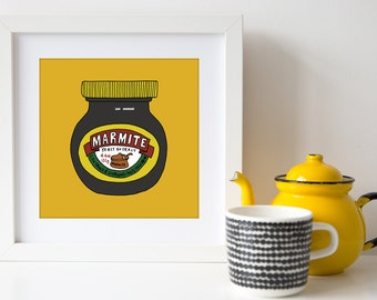 Marmite - Square Hand Drawn Illustration Print - kitchen art - home decor - food jar - marmite jar - art for foodie - art for kitchen
