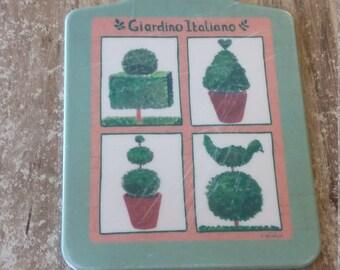 ITALIAN CUTTING BOARD Giardino Italiano Painted green terracotta and red heart bird beautiful gift for cook