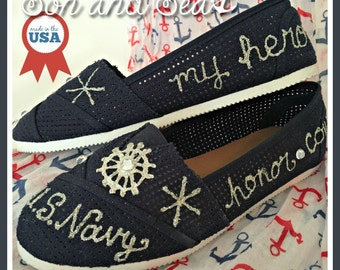 US Navy pride handpainted sz 8.5 shoes by Son and Sea