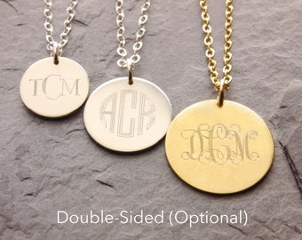 Monogram Necklace, monogram pendant, three initials, gold disc necklace, double sided engraving, bridesmaids necklace, gifts, N17