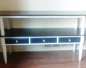 Black and White  Mid Century Credenza, Sideboard, Media Console, Sofa Table by Willett