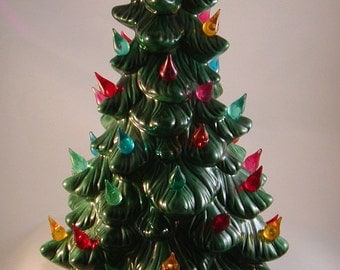 "Vintage Small Green Ceramic Christmas Tree  12"" Lighted Handcrafted Extra Bulbs"