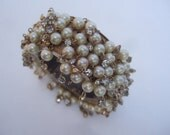 Mod Pearl Encrusted Wide Hinged Cuff Bracelet c 1970