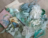 Inspiration Kit Vintage Aqua Ribbon Trim Fabric Millinery Buttons and More