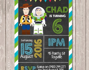 Toy Story Themed Personalised Chalkboard Birthday Invitation - YOU PRINT