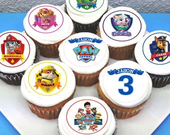"Paw Patrol Personalised Edible Icing Cupcake Toppers - 2"" - PRE-CUT"