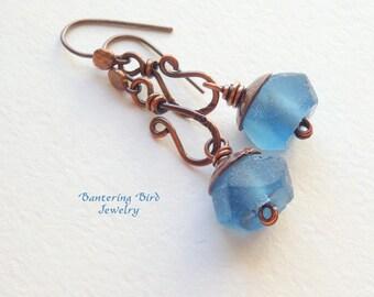 Blue Recycled Glass Earrings, Antiqued Copper Dangle Earrings, Stamped Metalwork Earrings, Rustic Copper Jewelry
