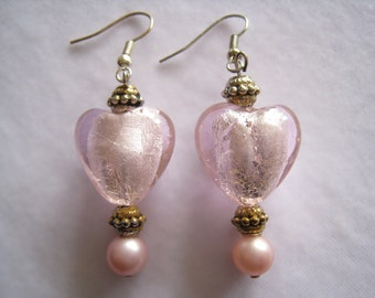 CLEARANCE Pink Heart Art Glass Drop Bead Earrings With Pink Pearl Bead at Base.