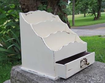 Heirloom White Wooden Desk Organizer with Vintage Lock