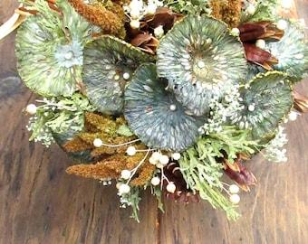 Green, Gold & Blue Wedding Bouquet - Mountain Pond - Baby's Breath, Pine, Arborvitae, Osage, Flax, Iris and Amaranth