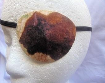 Man's handmade eye patch/ Bison theme/ American Buffalo motif/ vision aid/ health & beauty, cataract aid, eye health/ ocular gift/ocular aid