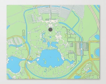 map of walt disney world epcot ...   digital download..8x10 or 16x20.