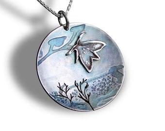 Moth Pendant, Sterling Silver Pendant, Silver Jewelry, 'Papillon de Nuit'.