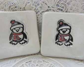 Two Sweet Holiday Penguins In Black and White Tea Bag Holders Ring Holders Ceramic Hand Made