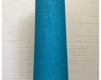 Extra Tall Vintage 60s 70s  Style Blue Hessian Conical Lampshade Fat Lava