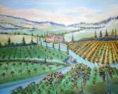 New, Vineyard Art, Farmland Landscape, Napa Sonoma, Mediterranean, Willamette Valley, Wine Country Art, Dan Leasure Original Oil