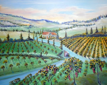 New, Vineyard Art, Farmland Landscape, Napa Sonoma, Mediterranean, Willamette Valley, Wine Country Art, Dan Leasure Original Oil