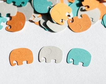 Elephant Baby Shower Decoration - Elephant  Confetti -  Aqua, Light Gray and Light Orange