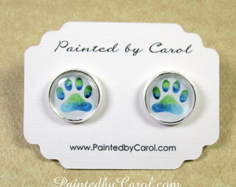 Paw Print Earrings, Paw Print Jewelry, Pet Lover Gifts, Paw Print Studs, Paw Print Lever Backs, Kids Earrings, Girls Earrings, Paw Earrings