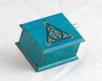Deathly Hallows music box turquoise Harry Potter - soundtrack and design inspired handmade wooden music box
