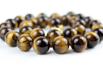 12mm Tiger Eye Necklace - VARIOUS Length Options Hand Knotted. Brown Tiger Eye / Tiger's Eye Stone. Therapeutic. MapenziGems