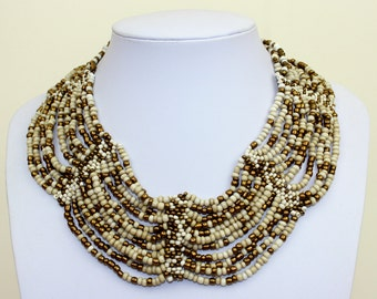 Collar Necklace. Ivory Bronze Collar Choker. Bib Necklace. Cleopatra Style Ethnic Necklace. DB06 MapenziGems