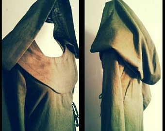 Made to order:Linen Star Wars inspired hood  cosplay larp  pixie SF sith