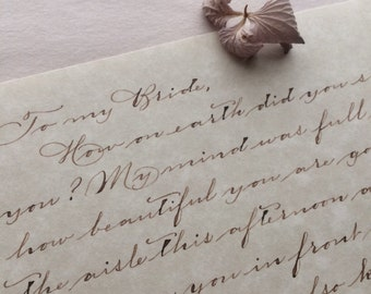 Letter the Bride Letter to the Groom Love Letter Anniversary Gift Handwritten