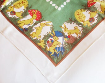Lovely German Vintage DDR Easter Printed Tablecloth with Bunnies, Chicks and Eggs, Retro Easter Home Decor made in the DDR Erzgebirge