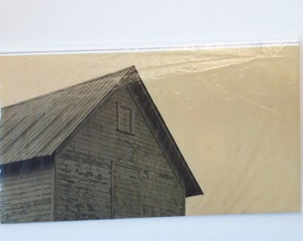 Country Barn, Sepia, Old Barn, Blank Card