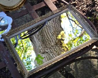 Mirror Tray, Gold Tray, Rectangle Mirror Tray, Dresser Decor, Vanity Tray, Metal Tray, Filigree Tray, Brass Tray, Ladies Gift, Boudoir