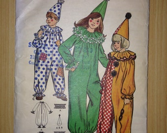 Butterick 6363 or 5105 70's Sewing Pattern Children's Harlequin Clown Costume Size 4 or 8