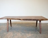 Coffee Table - Live Egde Walnut Slab by Dylan Design Co.