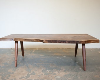 Coffee Table - Live Egde Walnut Slab by Dylan Design Co.