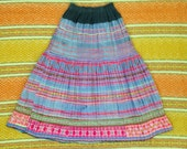 Beautiful vintage colorful hand embroidered Hmong skirt