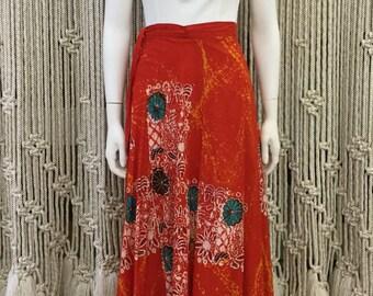 Beautiful red orange batik style floor length bohemian wrap skirt