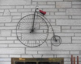 C Jere Signed Boneshaker Highwheel Bicycle Sculpture - Black and Red