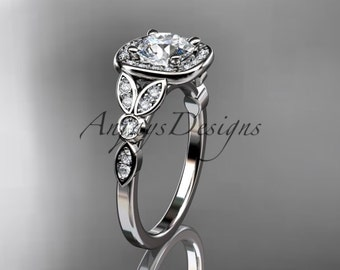 14kt  white gold diamond leaf and vine wedding ring,engagement ring ADLR179