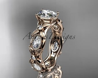"""14kt rose gold diamond leaf and vine wedding ring, engagement ring with a """"Forever One"""" Moissanite center stone ADLR152"""