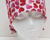 Ladies Surgical Scrub Hat - Chemo Cap - Pixie - Valentine's