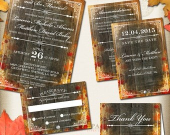 Rustic Fall Wedding Invitation and Stationery Package - Wedding Stationery - Fall Wedding - Autumn Leaves Digital Files