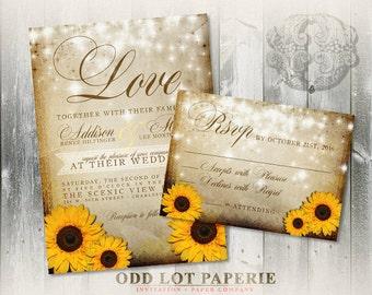 Rustic Sunflower Wedding Invitation and RSVP, Yellow Sunflower Invitation, Summer Wedding, Fall Wedding, DIY Printable Sunflower Wedding Set
