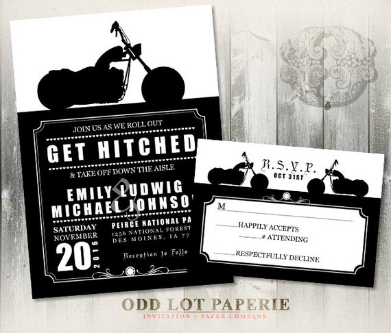 Biker Motorcycle Wedding Invitation DIY Printable Digital Invite
