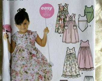 Simplicity Girls Slip Dress Top Pants and Shorts Sewing Pattern 5226 UC FF Uncut Size 3 4 5 6 7 8
