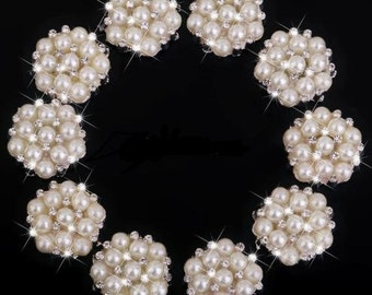 SET of 4 Pearl Rhinestone Buttons / Crystal Rhinestone Pearl Flower Embellishment Buttons
