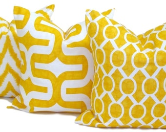 YELLOW PILLOW SET.20x20, 18x18 or 16x16 inch.Decorative Pillow Covers.Housewares.Home Decor.Yellow Pillows.Home Decor.Yellow Cushions.cm